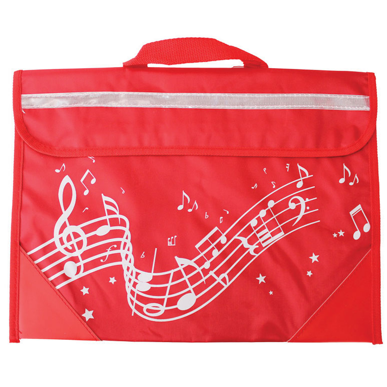 School Bag Wavy Stave Design Red                             Music Gift