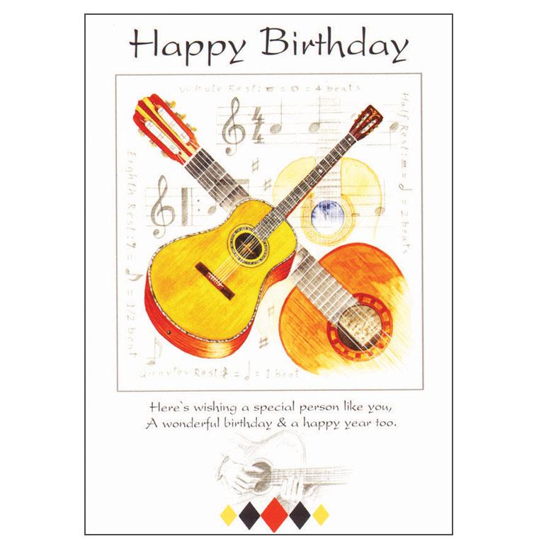 Happy Birthday Card Guitar Design Music Gift