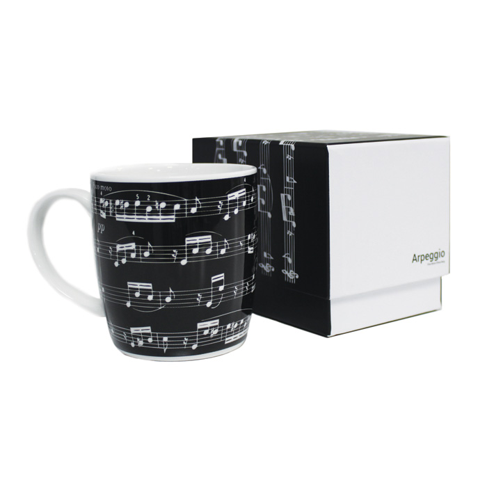 Bone China Boxed Mug Arpeggio Black                          Music Gift
