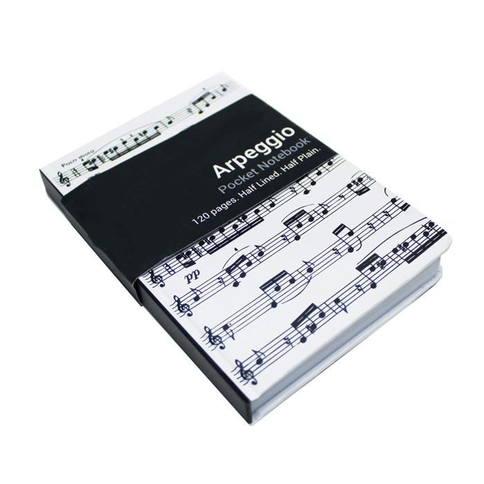 A6 Pocket Notebook Arpeggio White                            Music Gift