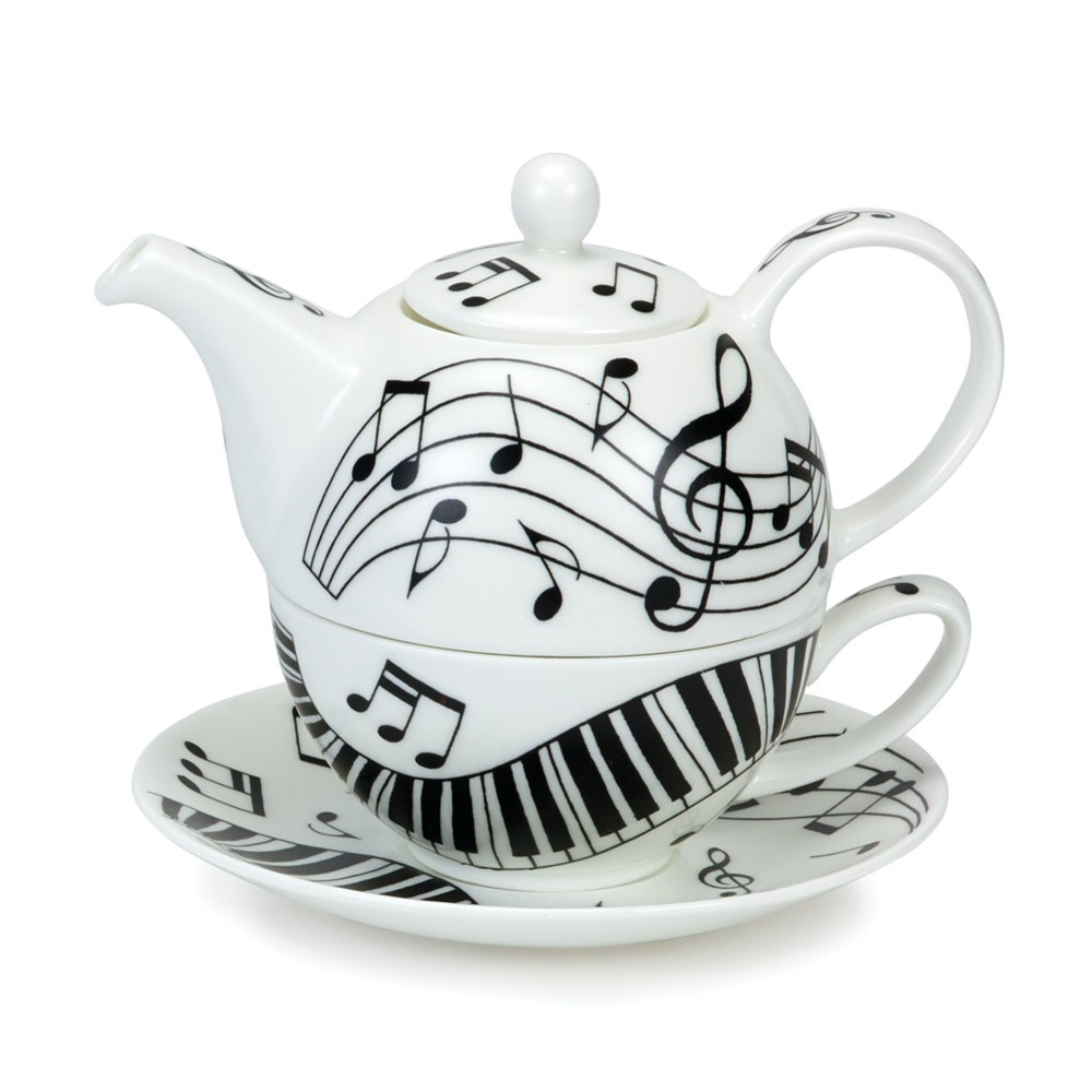 Dunoon Tea For One Set Ebony & Ivory                         Music Gift