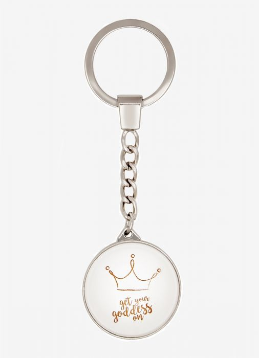 Get Your Goddess On Crown White Round Keyring                Gift