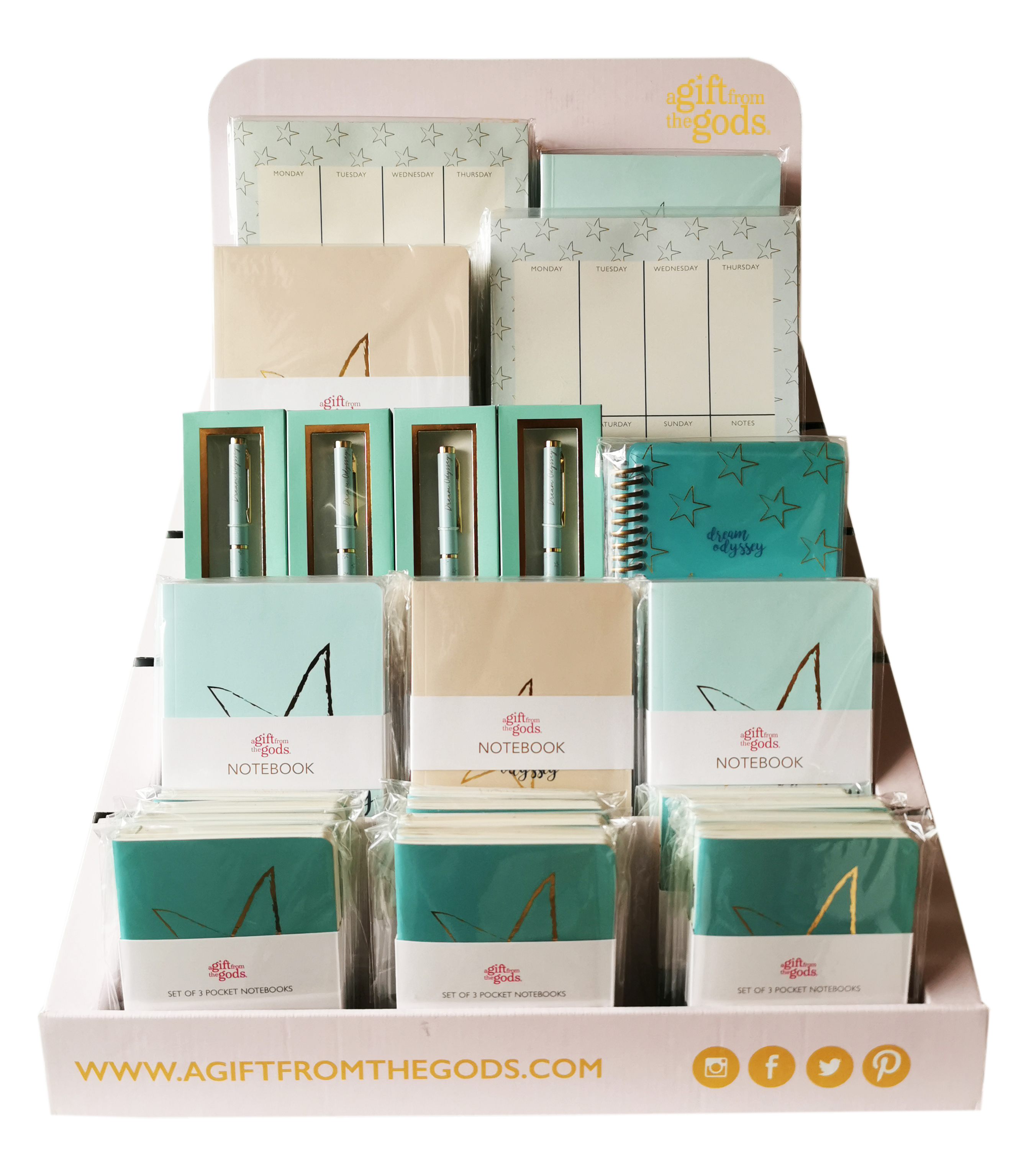 Agfg Stationery Counter Display Aqua 56 Pieces Gift
