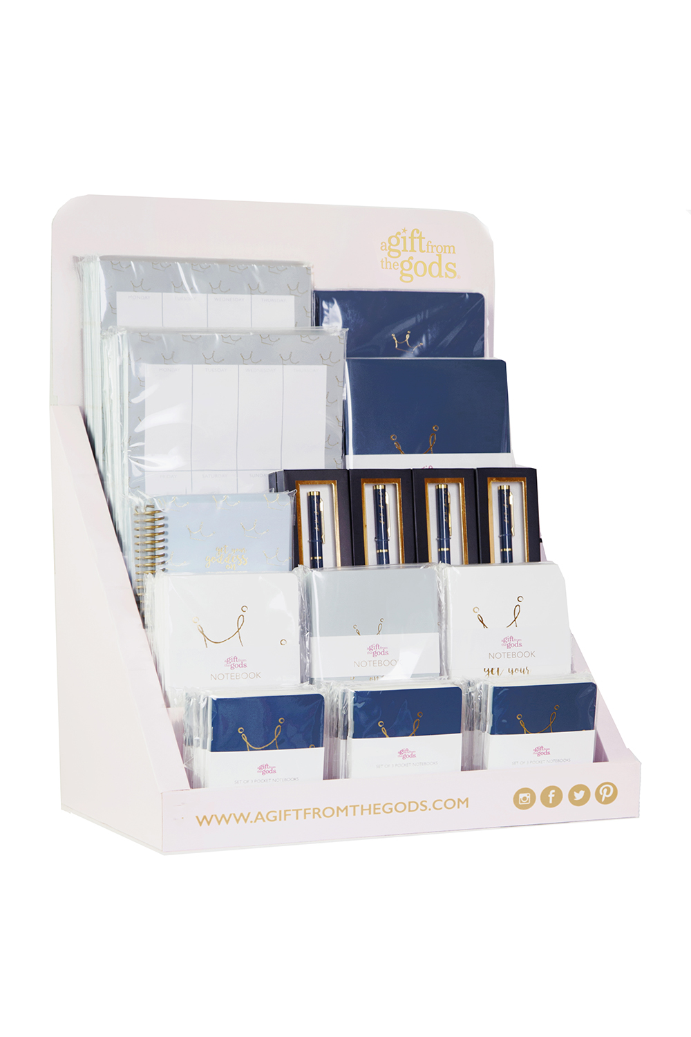 Agfg Stationery Counter Display Blue 56 Pieces Gift