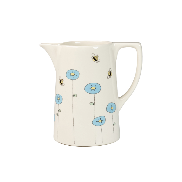 Helen Russell Cornflower & Bee Jug Medium Pack 4             Music Gift