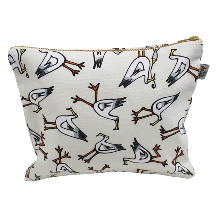 Gallery Thea Luxury Printed Wash Bag Seagull Ivory           Music Gift