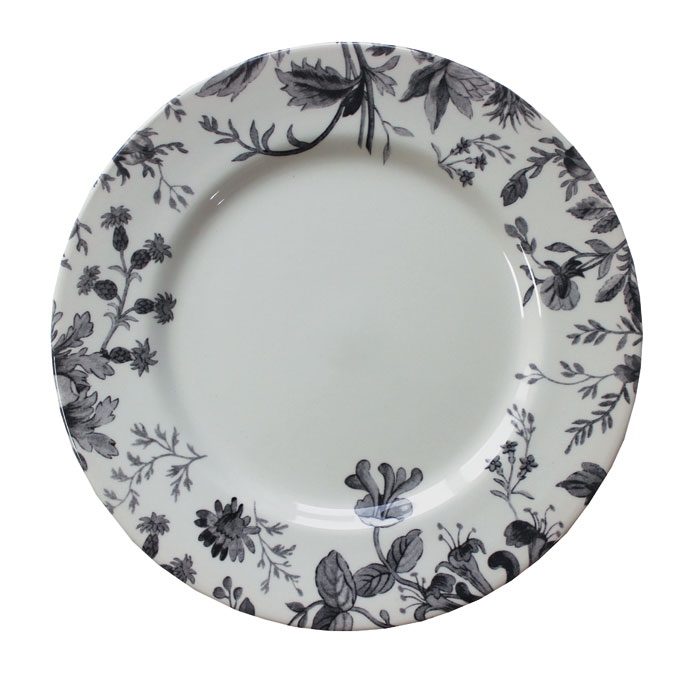 Royal Staff Floral Weave Dinner Plate Black Bord 6           Music Gift