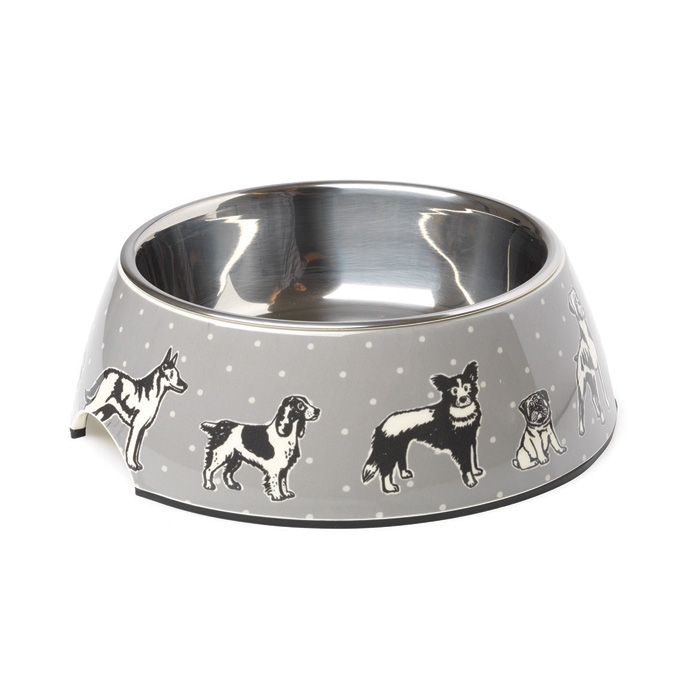 House Of Paws Polka Dogs Print Bowl Large                    Music Gift