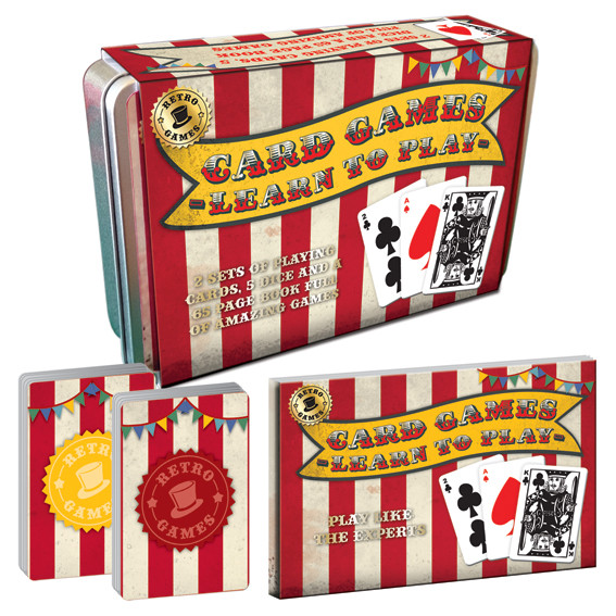 Vintage Red Playing Card & Dice Set In A Tin                 Music Gift