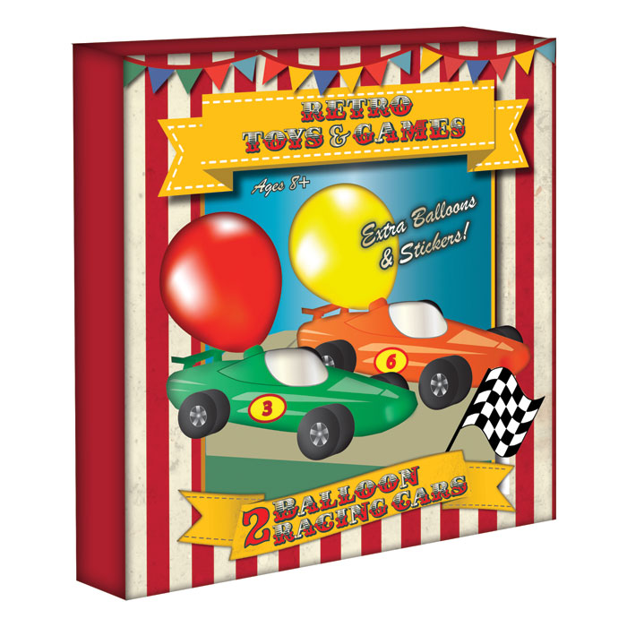 Vintage Red Balloon Racing Cars Pack Of 2                    Music Gift