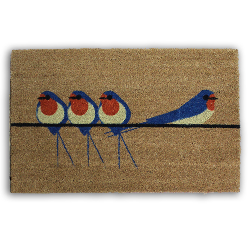 I Like Birds Coir Mat Swallows                               Music Gift