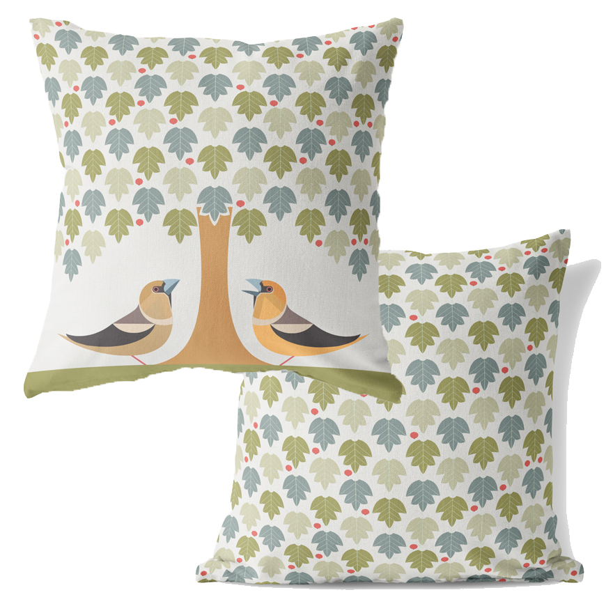 I Like Birds Cushion Hawfinch                                Music Gift
