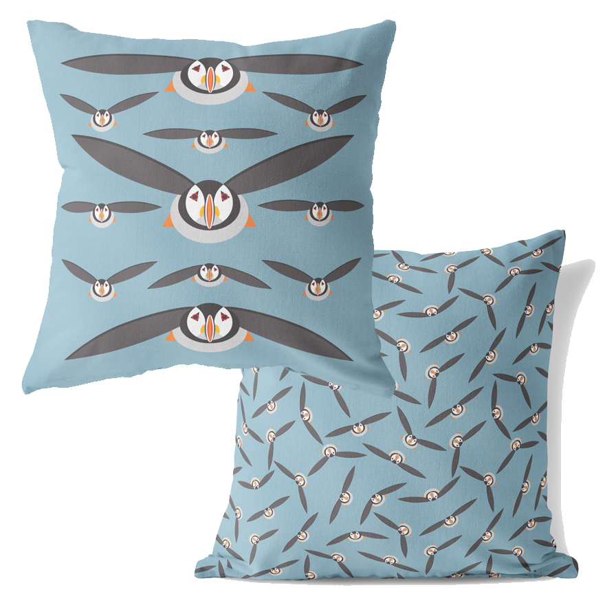 I Like Birds Cushion Puffin                                  Music Gift