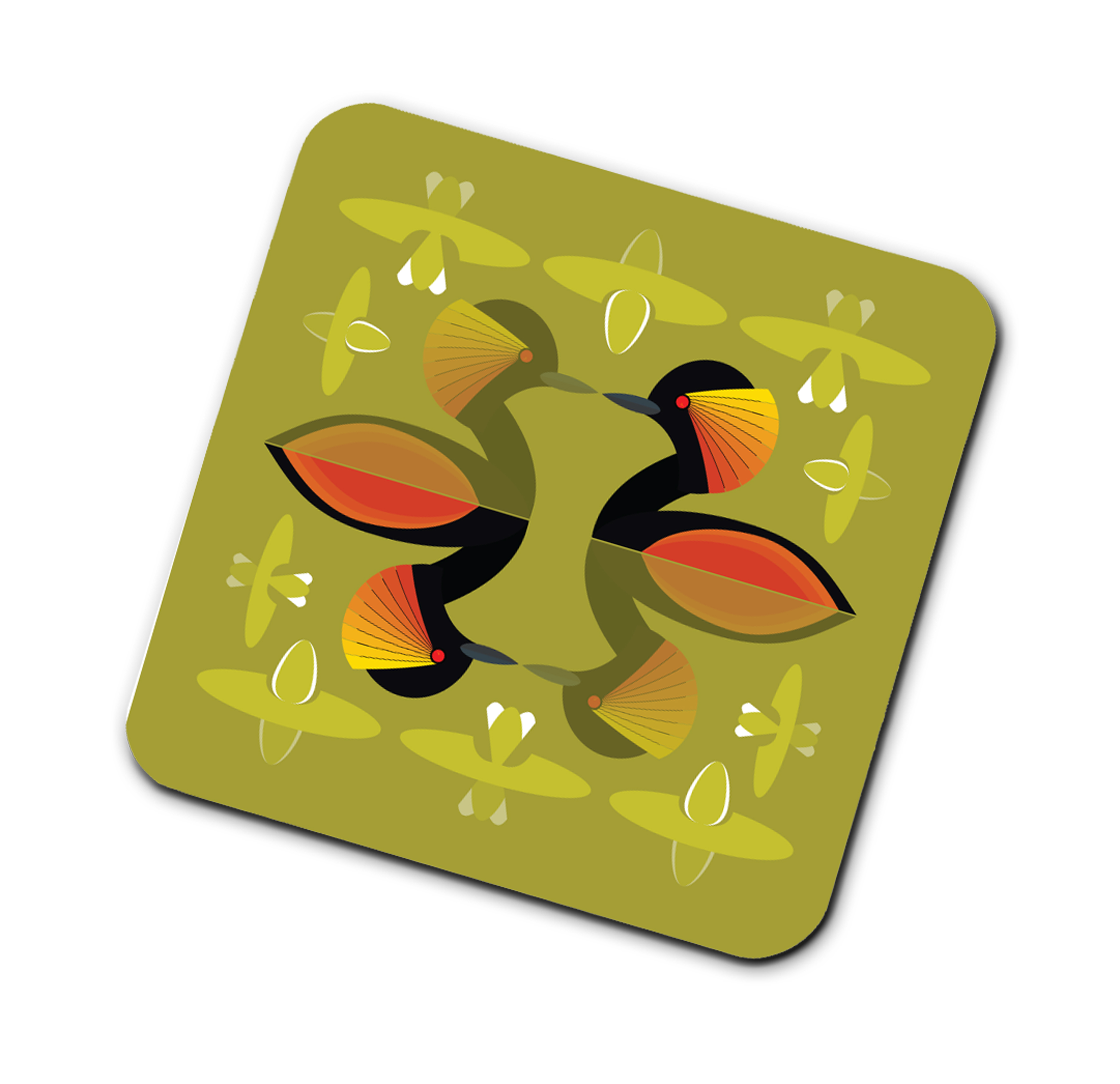 I Like Birds Coasters Black Necked Grebe                     Music Gift