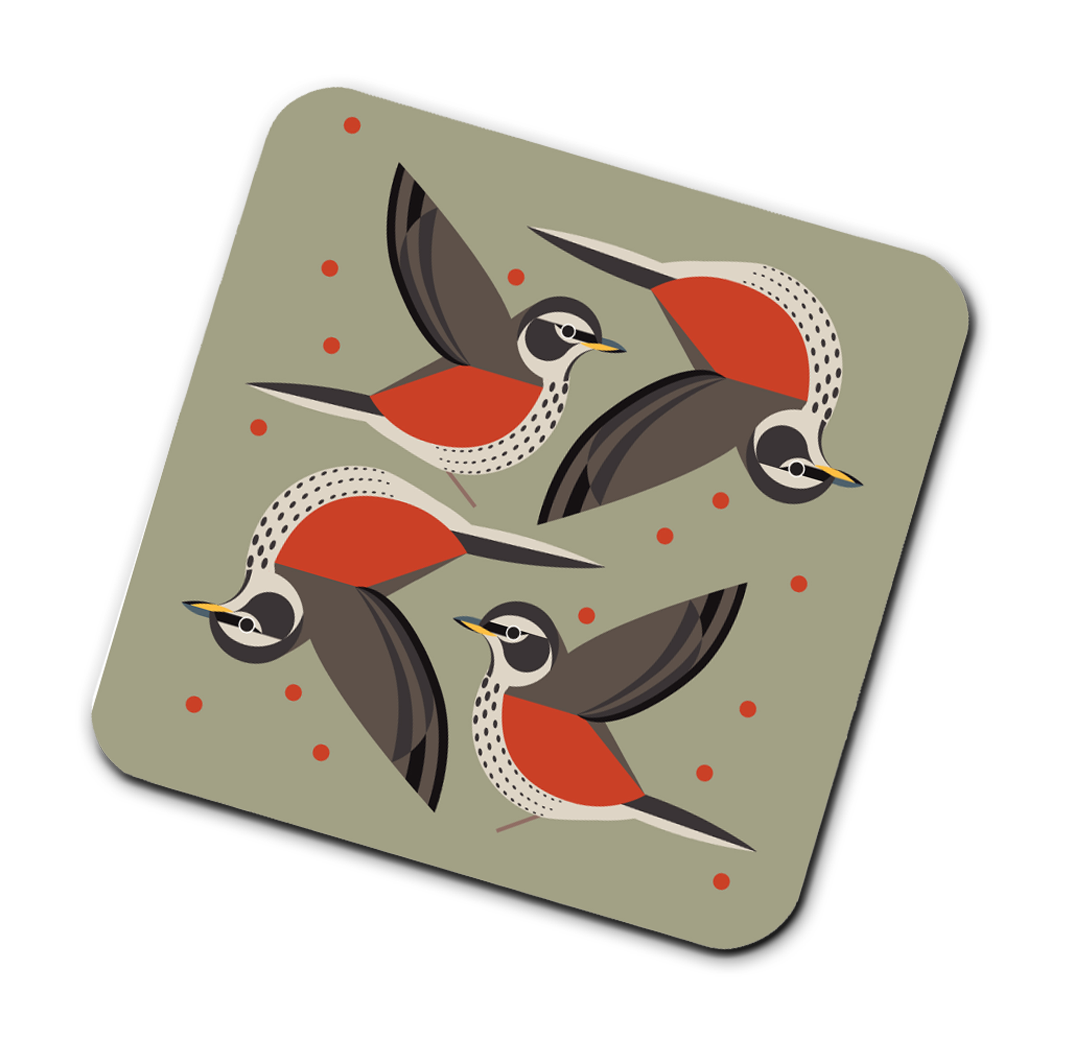 I Like Birds Coasters Redwing                                Music Gift