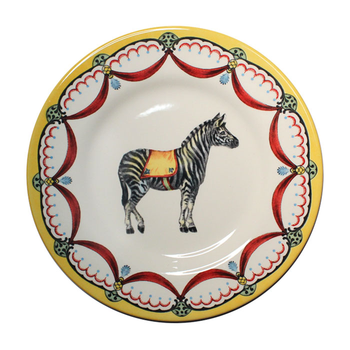 Royal Staffs Circus Wonders Side Plate Zebra X 6             Music Gift