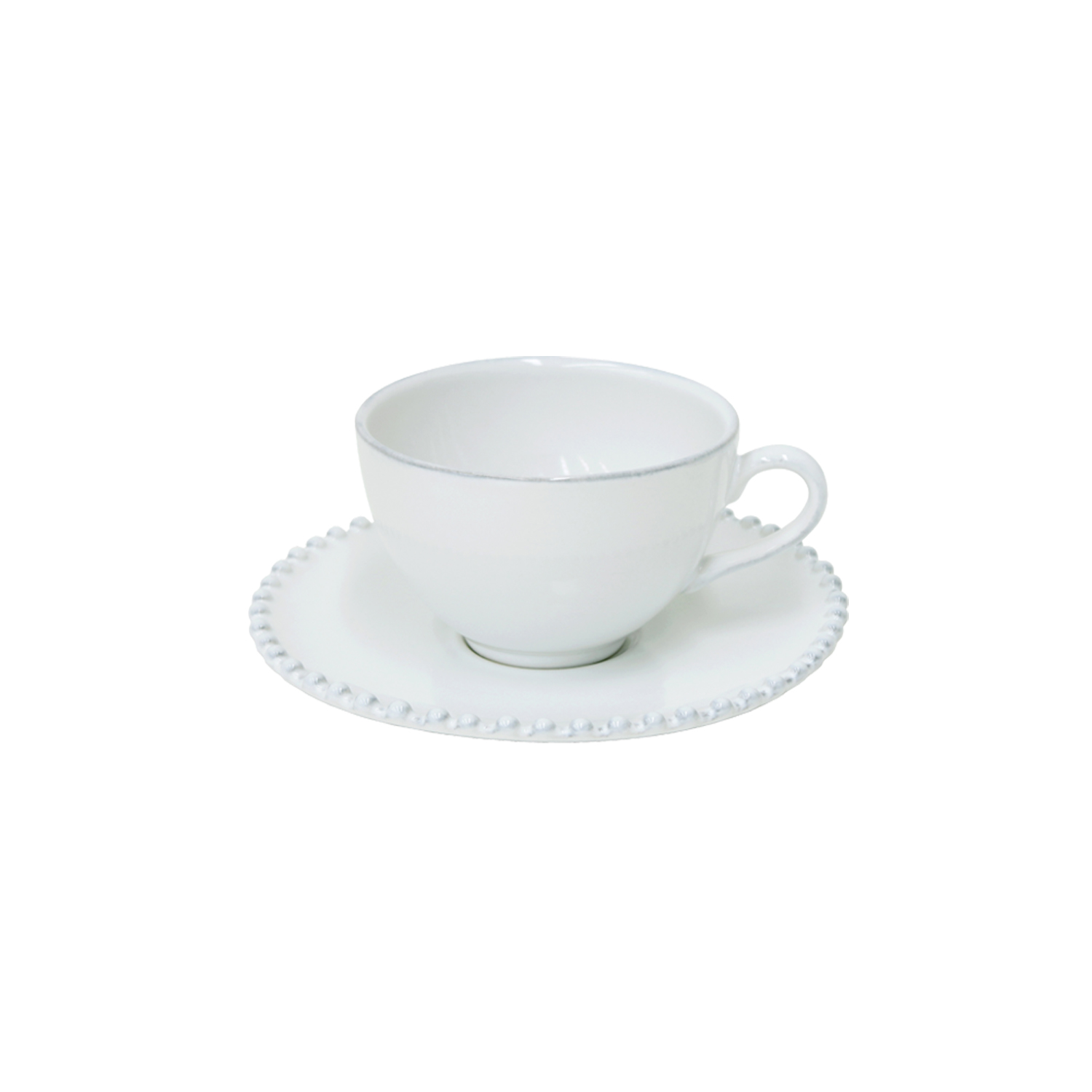 Pearl White Tea Cup & Saucer 0.25l X6                        Music Gift