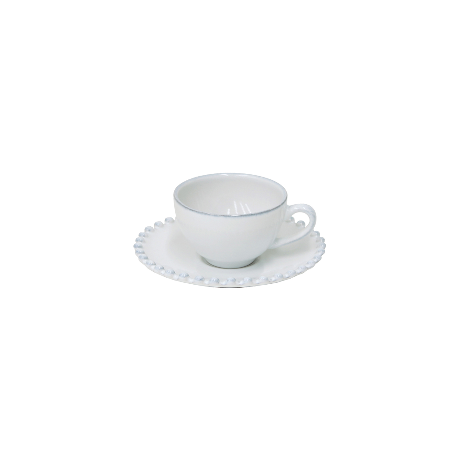 Pearl White Coffee Cup & Saucer 0.09l X6                     Music Gift
