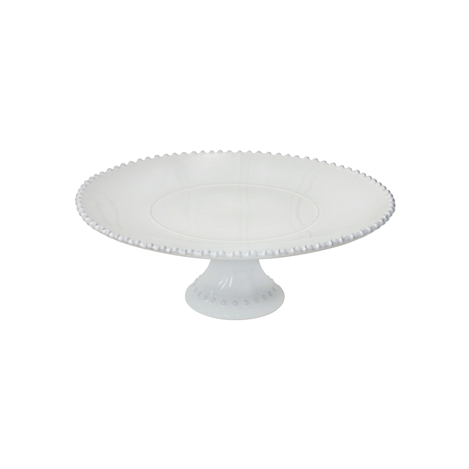 Pearl White Footed Plate Large 33cm X1                       Music Gift