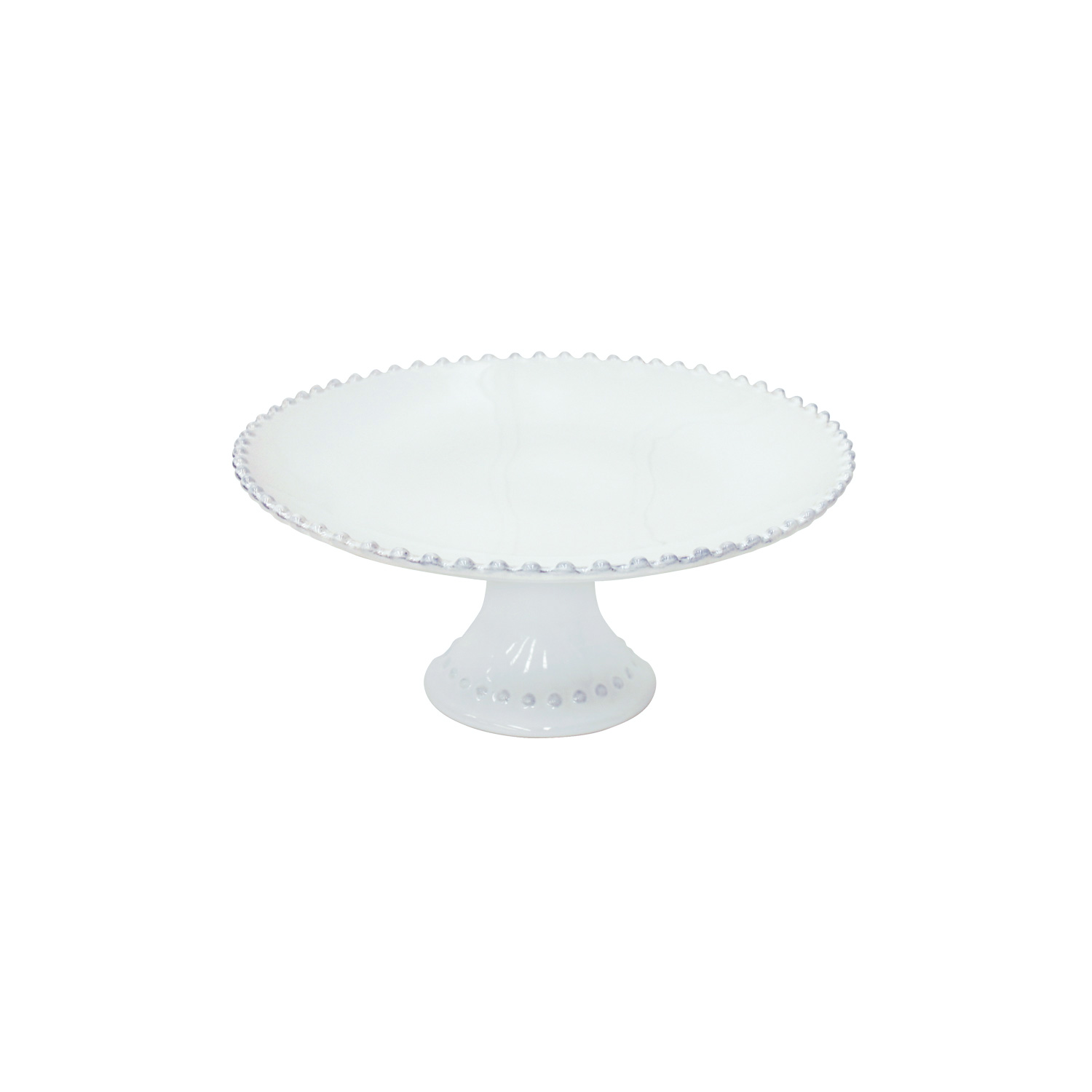 Pearl White Footed Plate Medium 28cm X1                      Music Gift