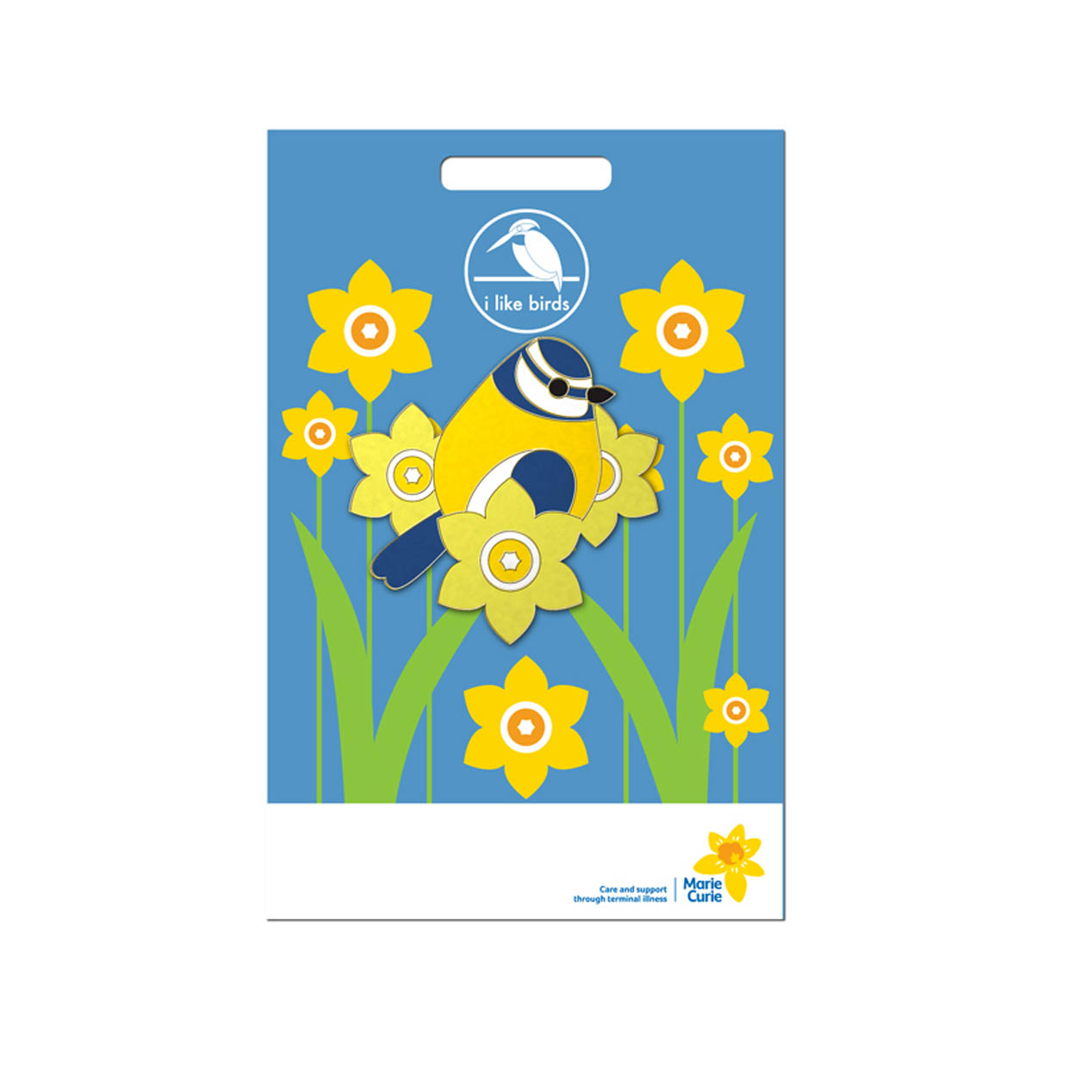 Ilb Marie Curie Blue Tit Daffodil Pin Badge                  Gift
